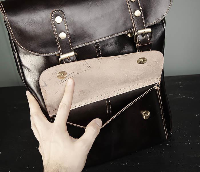 BAG470-2 Кожаный мужской городской рюкзак фото 06