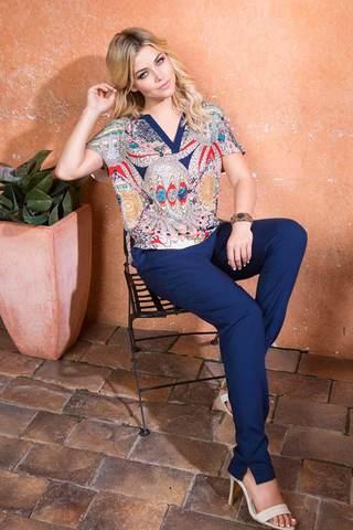 Женская красивая этническая роскошная синяя итальянская домашняя пижама Mia-Mia с брюками с блузой для приема гостей