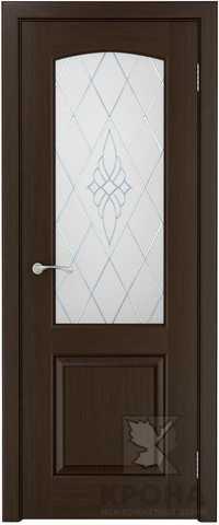 Дверь Крона Порто 2, стекло матовое с рисунком, цвет венге, остекленная