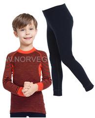 Комплект термобелья из шерсти мериноса Norveg Climate Control Orange-Black детский