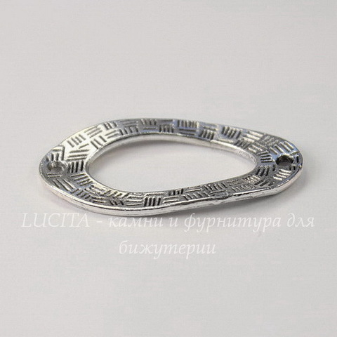 "Коннектор ""Овал изогнутый"" (1-1) 35х19 мм (цвет - античное серебро)"