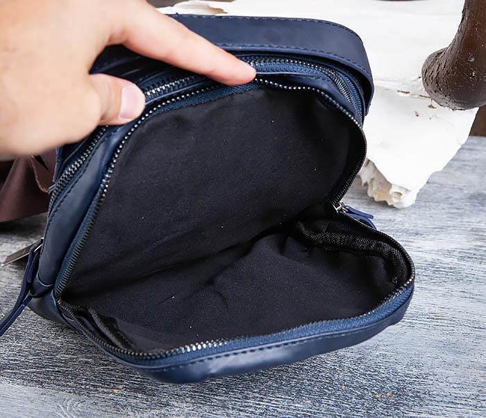 BAG452-3 Мужской рюкзак с одной лямкой из синей кожи фото 13