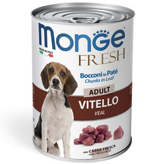 Monge Dog Fresh Chunks in Loaf влажный корм для собак Мясной рулет с телятиной 400гр