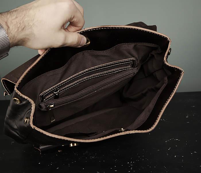 BAG470-2 Кожаный мужской городской рюкзак фото 09