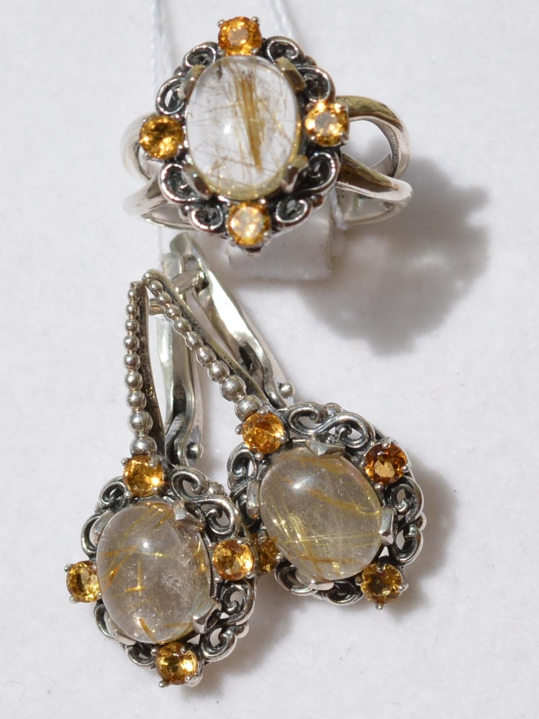 Камила-волосатик(кольцо + серьги из серебра)