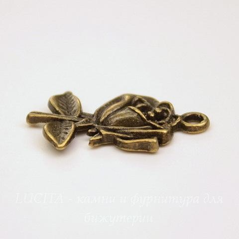 """Подвеска """"Роза"""" (цвет - античная бронза) 25х18 мм"""