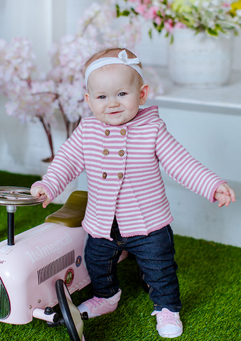 Лапушка. Кофточка на пуговицах с капюшоном с ушками хлопковая, розовая