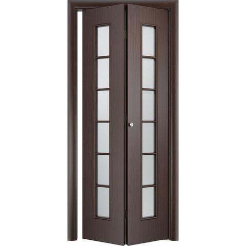 Складная дверь Лесенка венге со стеклом