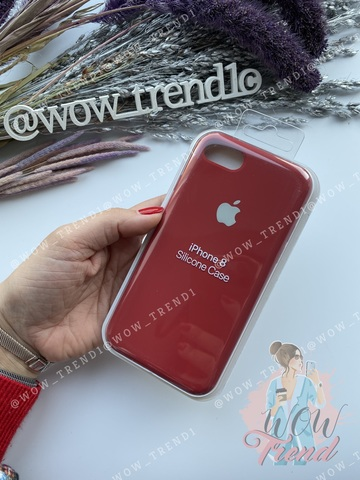 Чехол iPhone 7/8 Silicone Case Full /camellia white/ винный