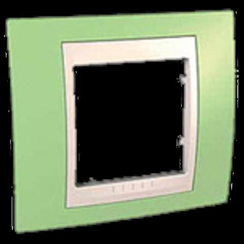 Рамка на 1 пост. Цвет Зеленое яблоко/белый. Schneider electric Unica Хамелеон. MGU6.002.863