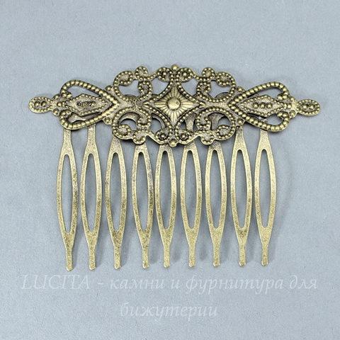 Гребень, основа для заколки с филигранью, 65х46 мм (цвет - античная бронза)
