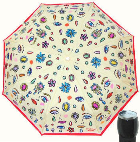 Купить онлайн Зонт складной Moschino Boutique 7082-I Faces beige в магазине Зонтофф.
