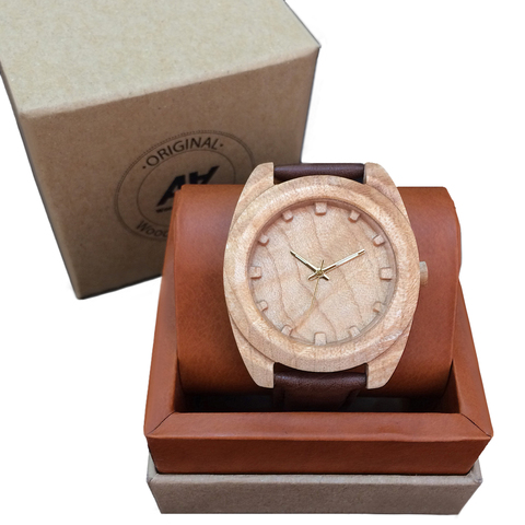 Часы из дерева AA Wooden Watches Вудкьюб Клен