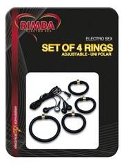 Набор силиконовых электро-колец на пенис Rimba Electro Set Silicone Cock Rings. Uni Polar. Flat