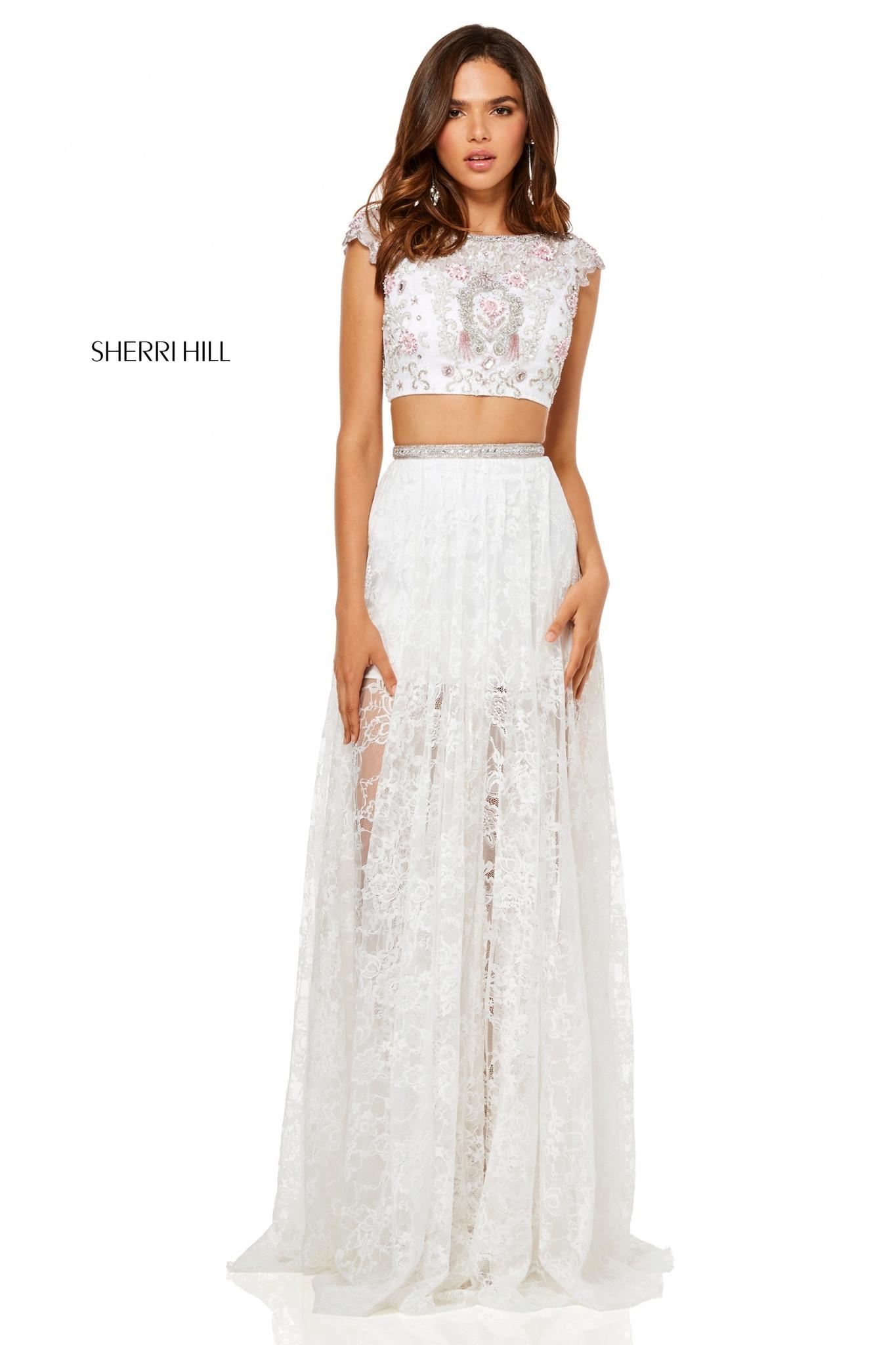 Sherri Hill 52519 Длинное, нежное, легкое платье кроп-топ