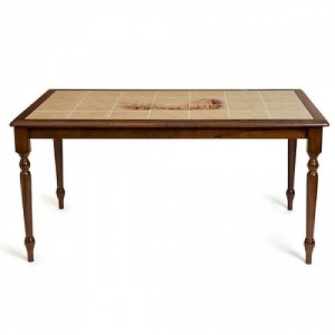 Стол 3760 с плиткой деревянный темный дуб