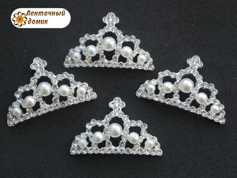 Корона жемчужно-стразовая на серебре № 7 (с микроцарапинами)