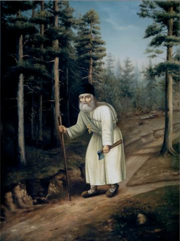 Икона святой Серафим Саровский в лесу на дереве на левкасе мастерская Иконный Дом