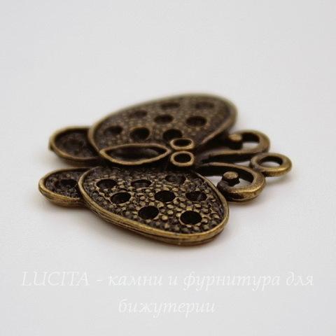 "Подвеска  ""Бабочка"" (цвет - античная бронза) 25х22 мм"