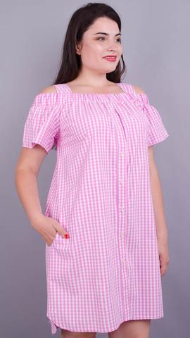 Клариса. Красивое платье-рубашка плюс сайз. Розовая клетка.
