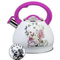 Чайник со свистком 3,0л Alpenkok AK-511 розовая ручка