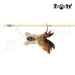 Trixie удочка с бабочкой на веревке из текстиля и перьев 45 см