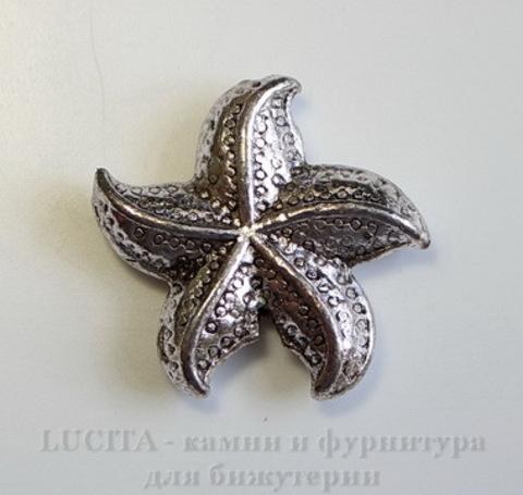 """Бусина металлическая """"Морская звезда"""" (цвет - античное серебро) 22х5 мм"""
