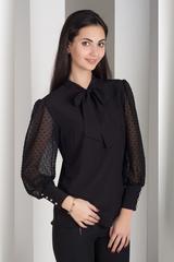 Милена. Изысканная блузка с оригинальным рукавом. Черный