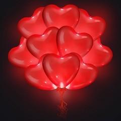 Светящиеся сердца с гелием