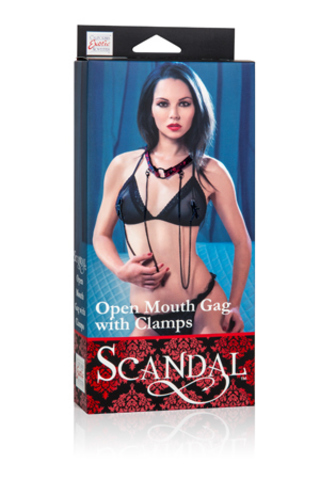 Scandal® Open Mouth Gag with Clamps - Red фото