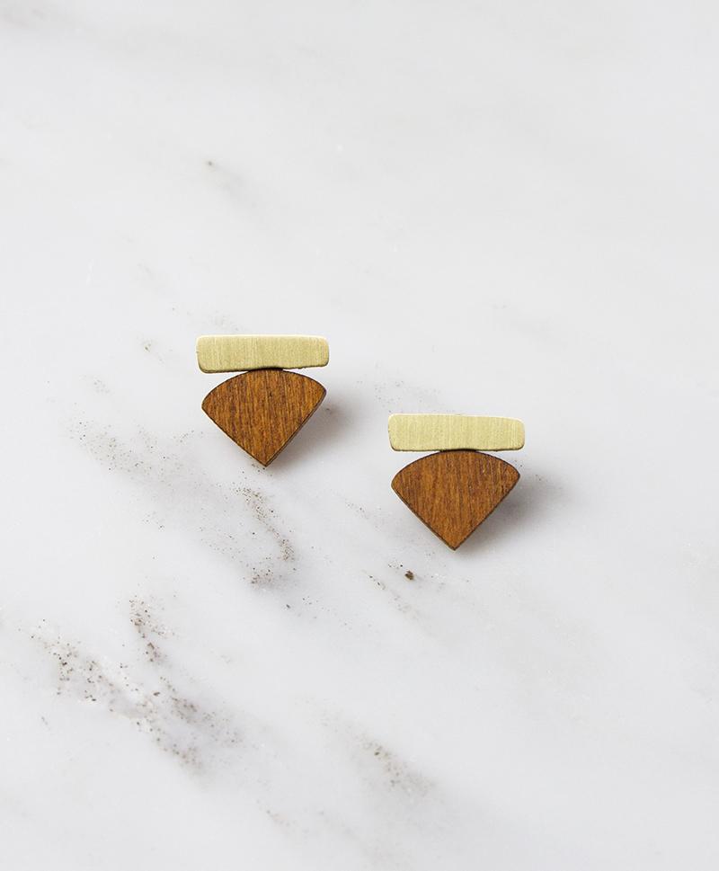 Серьги Fade Studs Wood