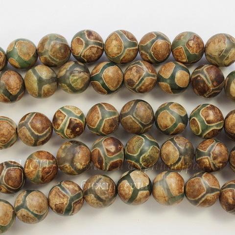 """Бусина Агат """"Мозаика"""" (тониров), шарик, цвет - серо-коричневый, 10 мм, нить"""