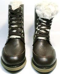Зимние ботинки с натуральным мехом женские Studio27 576c Broun.