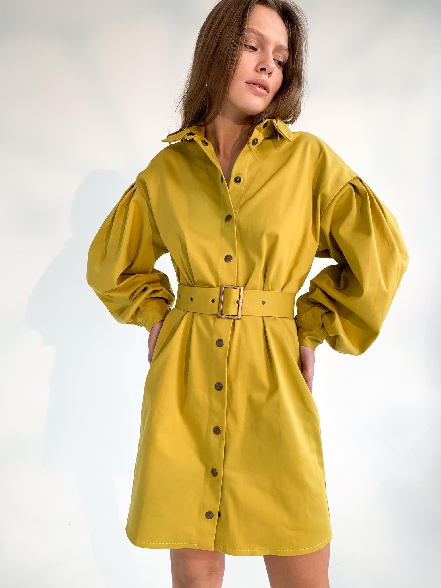 Платье-рубашка с поясом (oversize) (горчичный)