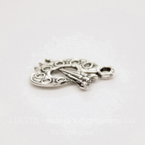 "Подвеска ""Палитра"" 17х12 мм (цвет - античное серебро)"