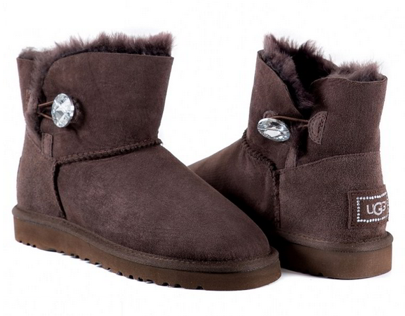 UGG Mini Bailey Button Bling Chocolate