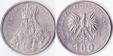 Польша 100 злотых 1987 Казимир III