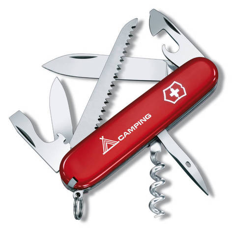 Нож Victorinox Camper, 91 мм, 13 функций, красный с логотипом