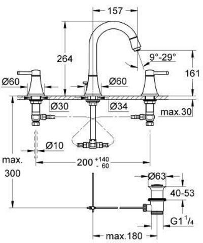 Смеситель для раковины на 3 отверстия Grohe Grandera 20389000 схема