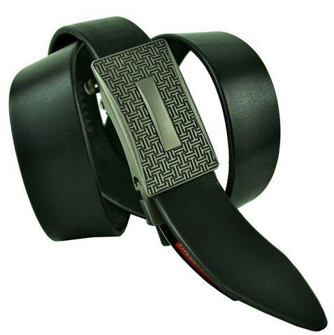 Ремень мужской брючный чёрный из качественной натуральной кожи 35 мм с автоматической пряжкой бляхой 35Millenium-A-272
