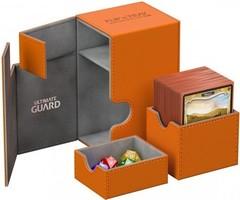 Ultimate Guard - Кожаная оранжевая коробочка с отделением для кубиков на 100+ карт