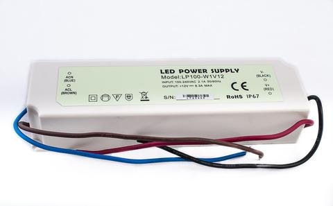 Блок питания 100Вт, 12В, IP67 для светодиодных лент и модулей