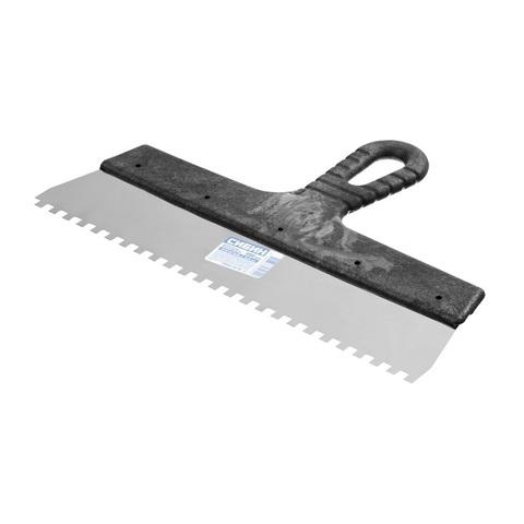 Шпатель нержавеющий СИБИН зубчатый, с пластмассовой ручкой, зуб 6х6мм, 300мм