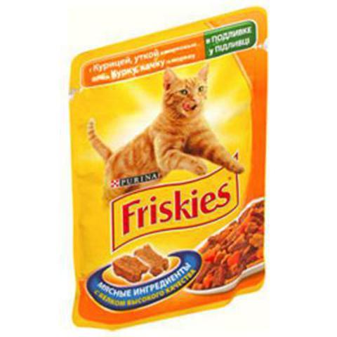 Friskies Кусочки в Подливке с уткой,курицей и морковью в подливке д/кошек 100 г