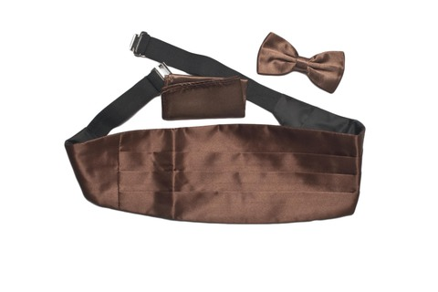 Камербанд (кушак, пояс) Max Cavalera для смокинга+бабочка+платок коричневый