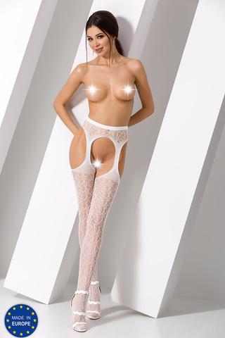 Белые чулки-сетка с поясом сексуальные
