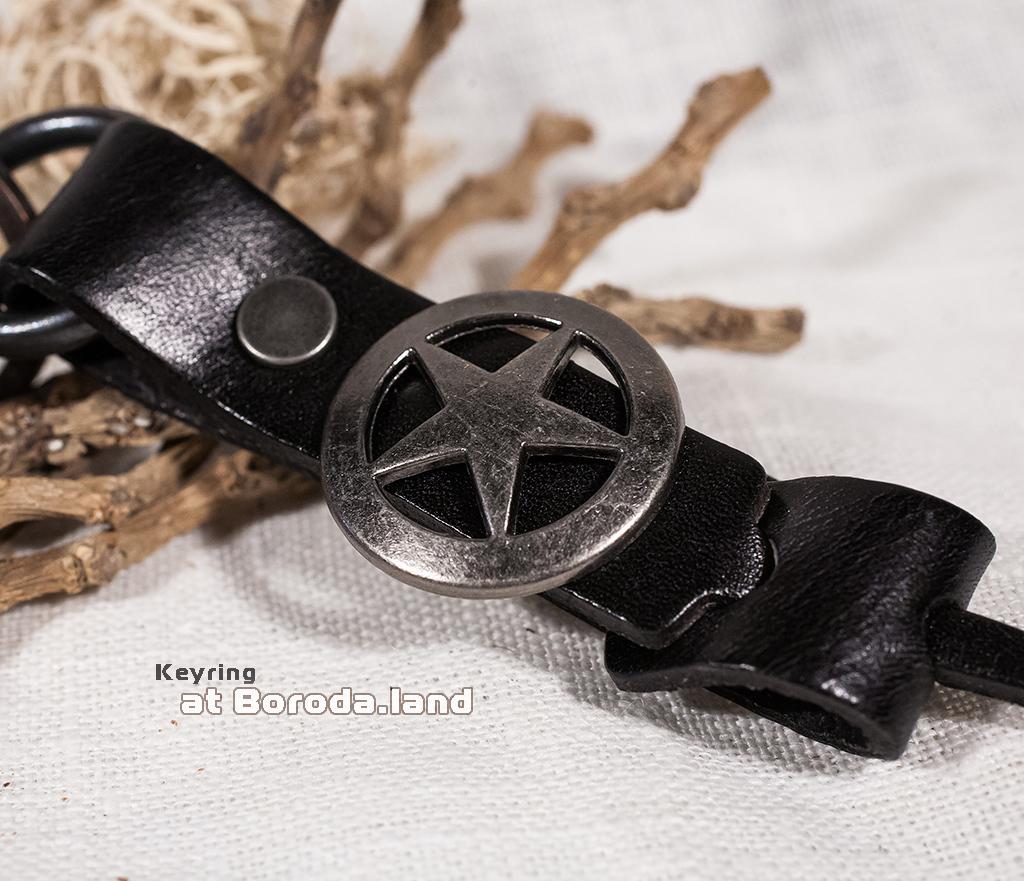 """KR108-1 Массивный брелок из кожи и металла """"Star"""" фото 02"""