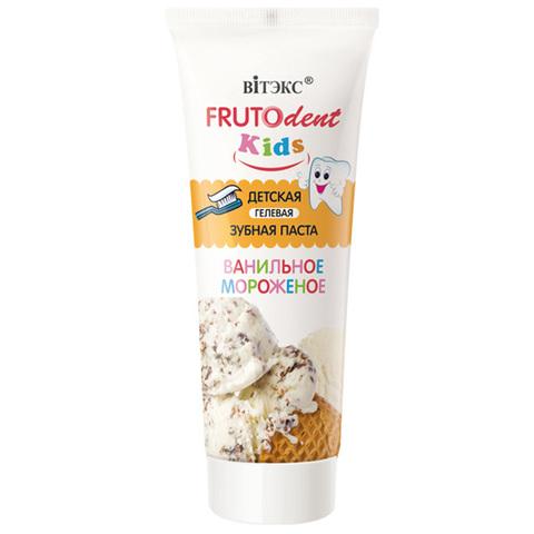 Витэкс FrutoDent Kids Детская гелевая зубная паста Ванильное мороженое (без фтора) 65г