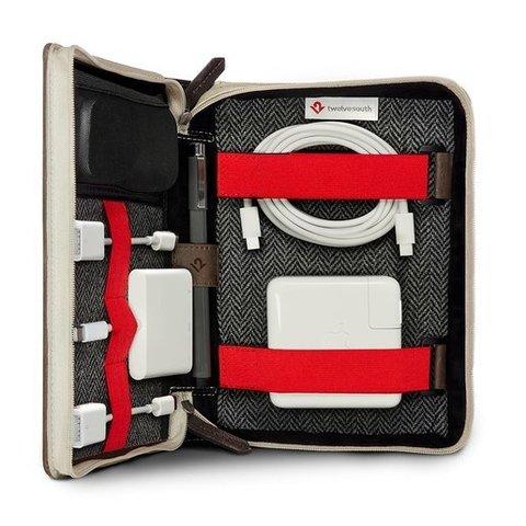 Сумка Twelve South BookBook CaddySack для аксессуаров для мобильных устройств. Материл кожа/ткань. Цвет темно-коричневый.