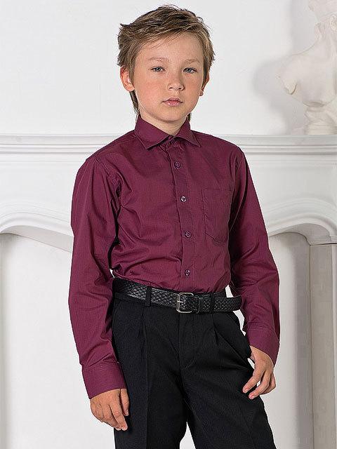 66-11 рубашка для мальчиков, бордовая